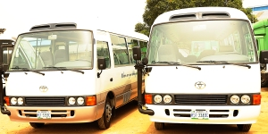 The Coaster buses purchased for the elderly at The SCOAN.