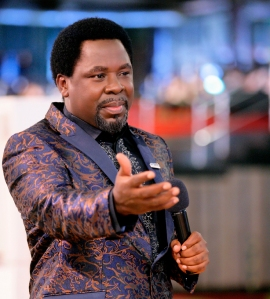 Prophet T.B.Joshua ministering the message
